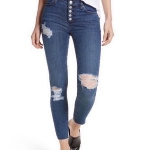 Free People Destroyed Button Fly Skinny Jeans NEW